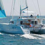 Lagoon 450 Catamaran sailing on a a yacht charter