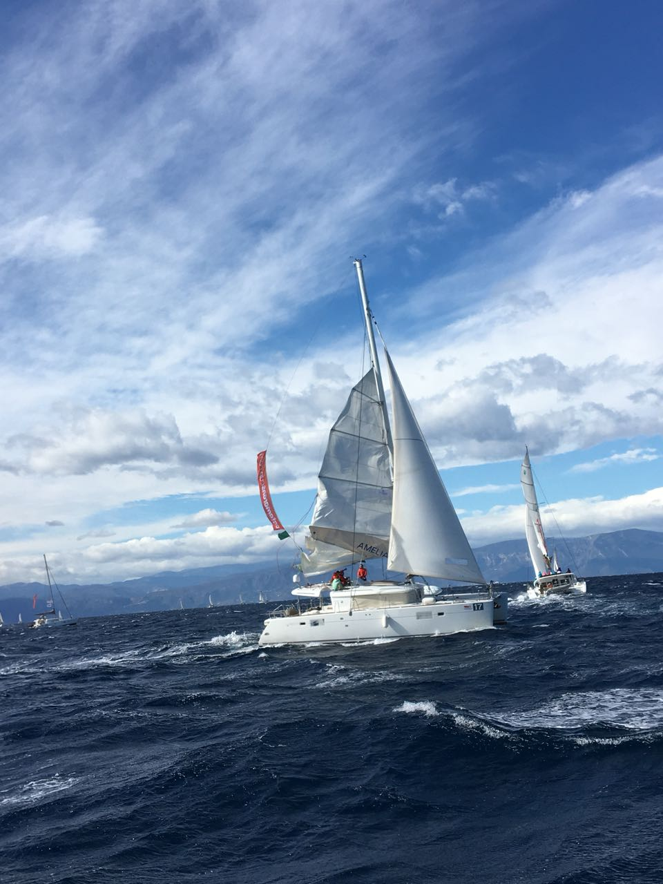 my first regatta – catamarans cup – lagoon 450 – broken mainsail