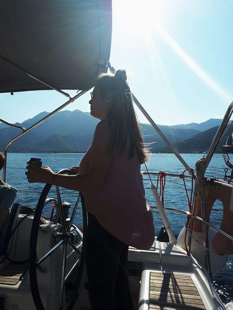 ionian sailing – day one – elpida steering