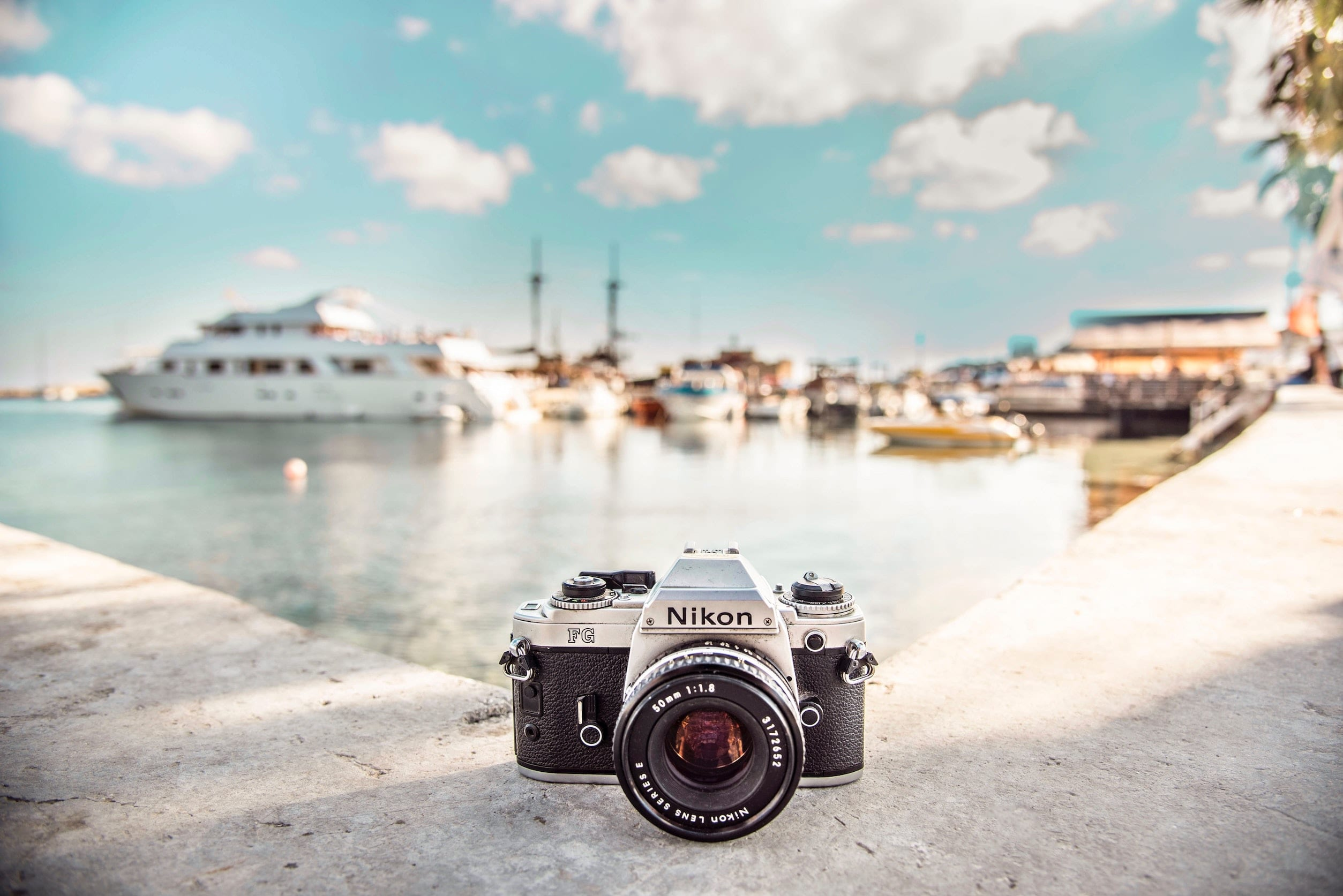 camera on a ledge in a harbour
