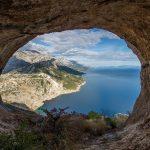 view through a cove in Croatia of the ocean