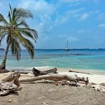sailing boat in the distance, palm trees and a beach in the San Blas islands on a Caribbean catamaran charter