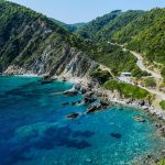 mountains and blue waters in Skopelos on a greek islands bareboat charter