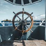 steering wheel on a sailing boat