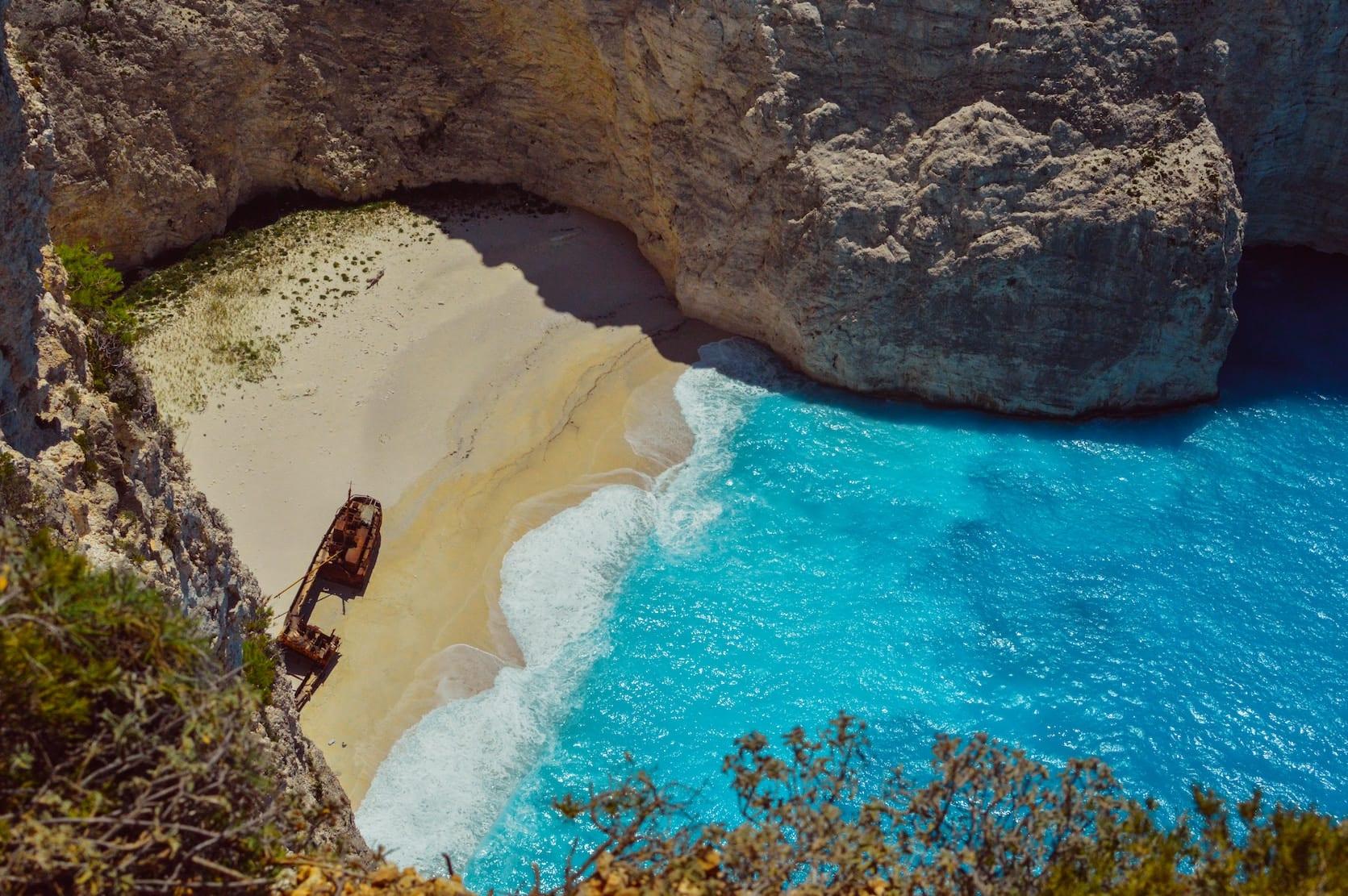 shipwreck beach in Zante on an ionian sailing itinerary