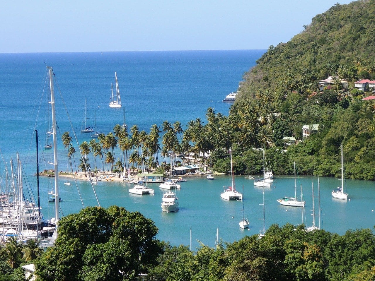 view of a harbour with sailing boats in st Lucia