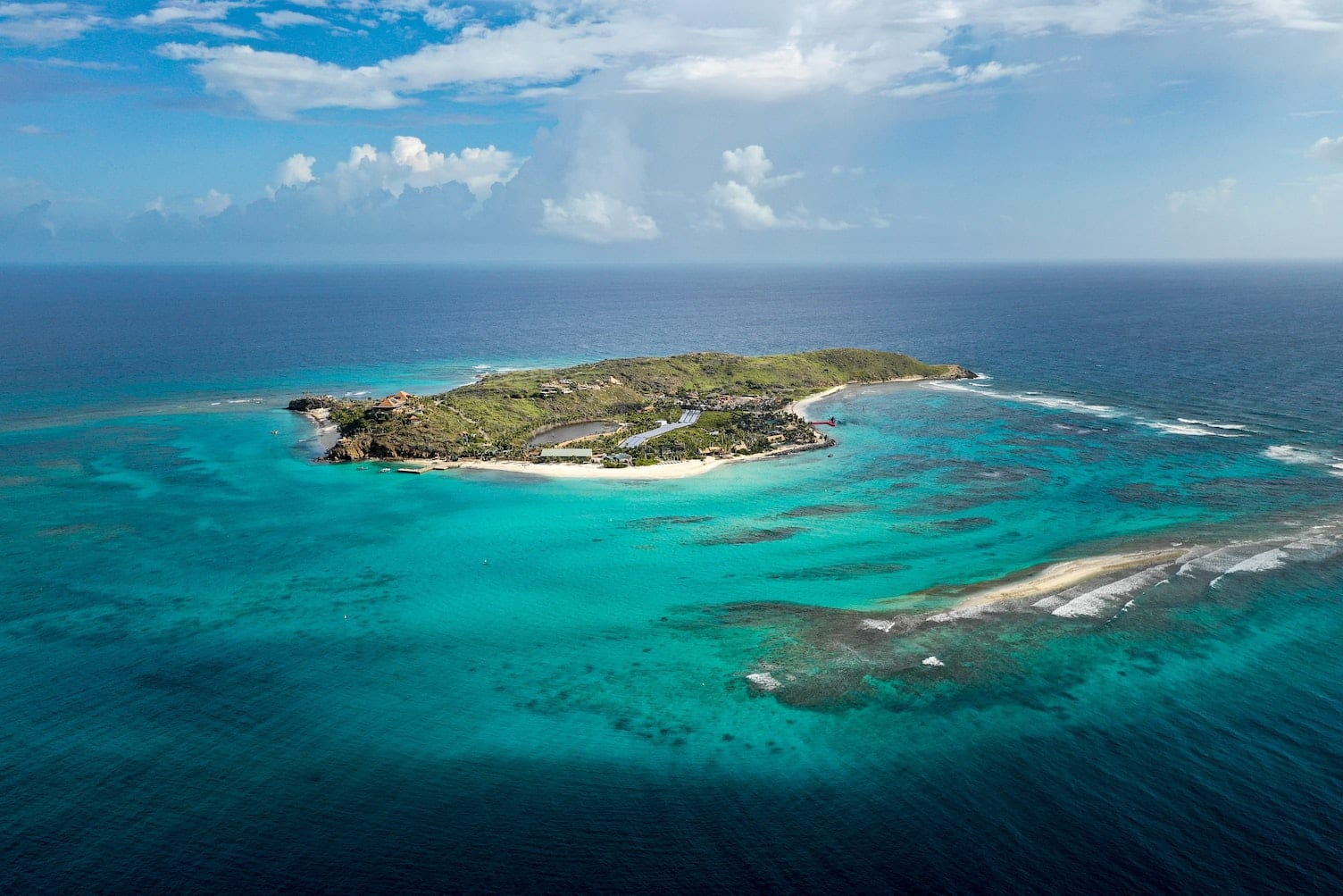 Ariel view of necker island in the bvi
