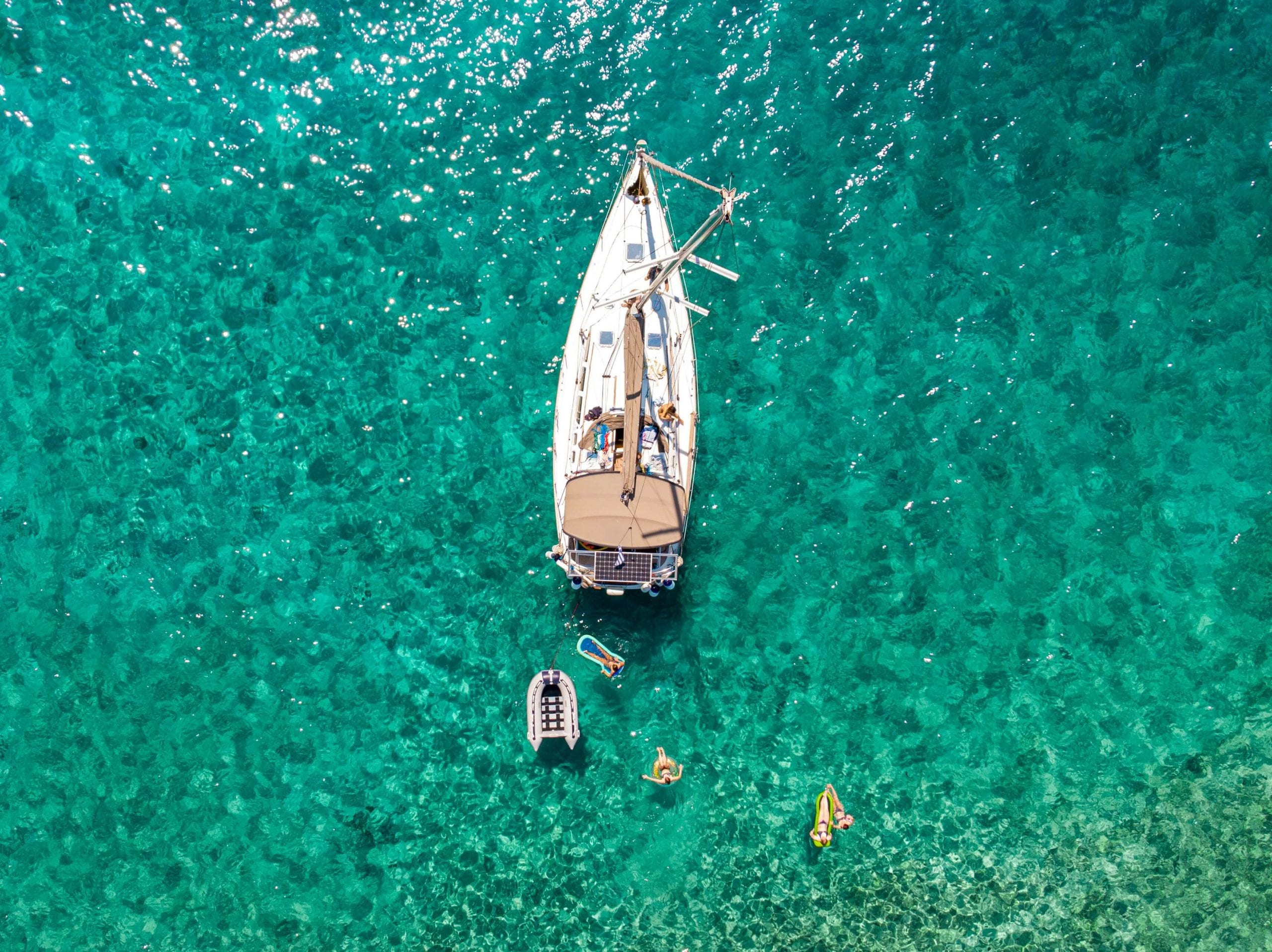 View of a sailing boat from above