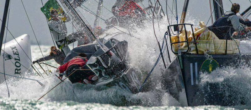 Two Duelling Race Yachts