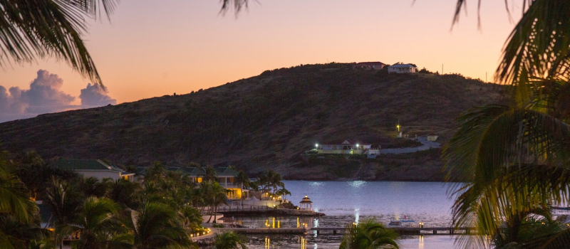 view of a harbour at night in Antigua