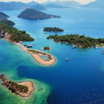 Aerial shot of the Turkish Lycian Islands
