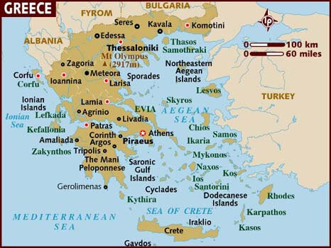 Sail Cruise map of Greece