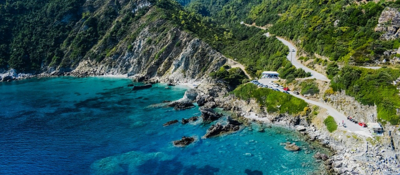 mountains and the ocean on a Sporades sailing itinerary