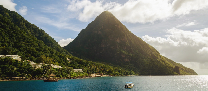 views of the mountains on a st Lucia sailing itinerary